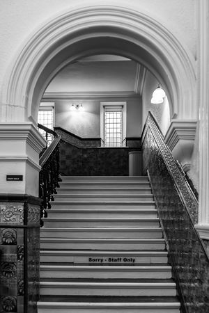 Black & White Signs Arch Architecture Built Structure Day Indoors  Monochrome Museums No People Staircase Steps Steps And Staircases