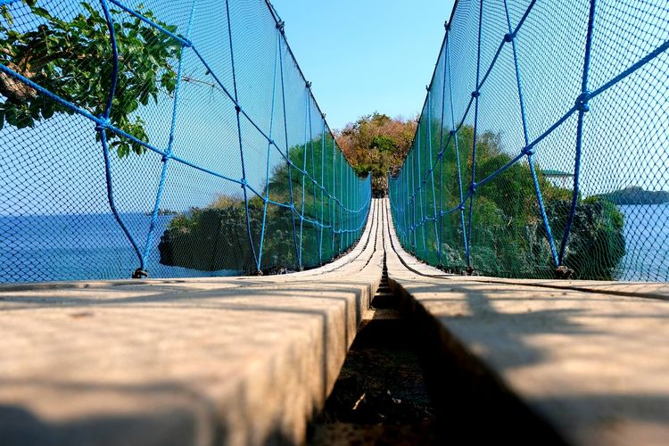 Tree Sky Footbridge Covered Bridge Barbed Wire Rope Bridge Railing Razor Wire Bridge Stairway Spiral Staircase Fence Bridge - Man Made Structure The Way Forward Arch Bridge Steps And Staircases Chainlink Fence Barricade Spiked Diminishing Perspective vanishing point Growing Empty Road