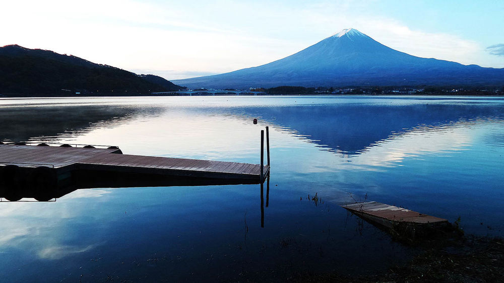 Tranquility Fujisan Mt Fuji Reflection Water Reflections Reflected Glory Cobalt Blue By Motorola The Great Outdoors - 2015 EyeEm Awards The Great Outdoors With Adobe