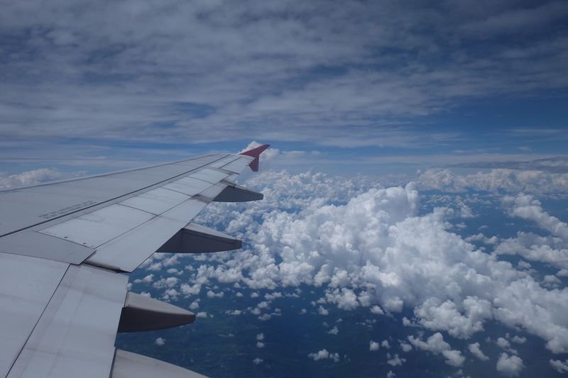 Cloud - Sky Sky Nature No People Airplane Day Outdoors Beauty In Nature Aerial View Transportation Blue Airplane Wing Scenics Close-up