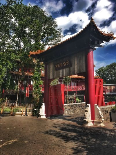 Street Chinese Gate Gateway Chinese Style Chinese Architecture Zoo Ouwehands Dierentuin Chineese Architecture Sky Red Sunlight Plant Building Exterior Day Tree