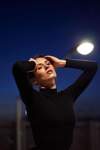 Women Portrait Portrait Of A Woman Face Night Lights Night Photography Mood Emotion EyeEm Best Shots Sky Crescent International Women's Day 2019