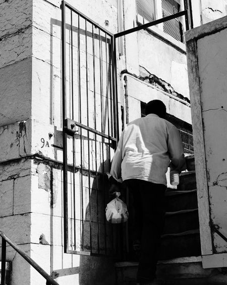 Stairs Rear View Person Street People Streetphotography Shadow Shadows & Lights Day Contrast Monochrome Blackandwhite