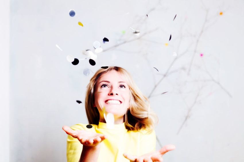 Yippee... Colors Confetti Happy People Happy Smile Smile ✌ Smiling Enjoying Life Colorful Portrait Makeportraits Portrait Photography Yellow Portraits Color Portrait Having Fun Cheese! Throwing  Cinema In Your Life Woman Woman Portrait