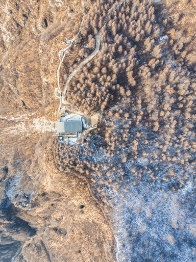 High angle view of cars on rock