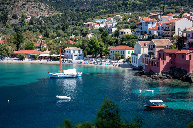 Bay with boats and houses Water Architecture Building Exterior Nautical Vessel Built Structure Transportation Building Residential District Sea Tree Mode Of Transportation Nature Plant Day Moored House City High Angle View Travel Destinations No People Outdoors Yacht Sailboat TOWNSCAPE Luxury