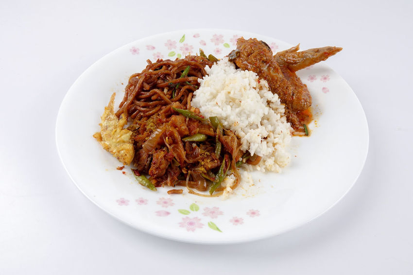 NASI AMBENG, INDONESIAN LOCAL FOOD Javanese Tradition Close-up Crockery Dinner Food Food And Drink Freshness Garnish Healthy Eating Indonesia Food Indoors  Indulgence Local Food Meat Nasi Ambeng No People Plate Ready-to-eat Rice Rice - Food Staple Serving Size Still Life Studio Shot Table Temptation Vegetable Wellbeing White Background