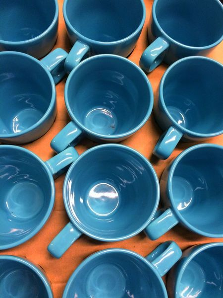 Cups Coffee Cups Pottery Blue Coffee