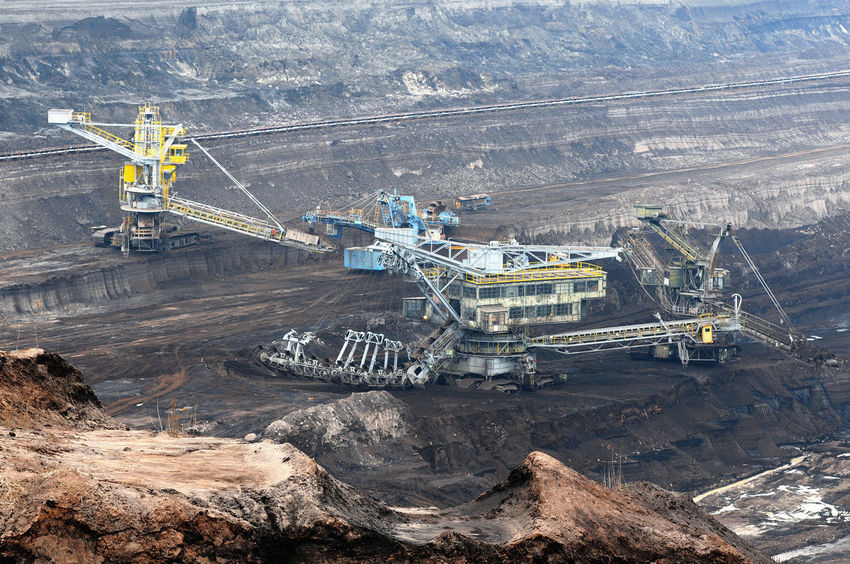 aerial view in coal mine with bucket wheel excavator. destruction of nature. fossil energy. Industry Mining High Angle View Fuel And Power Generation Coal Mine Quarry Coal Outdoors Transportation Tagebau Braunkohle Braunkohletagebau Fossil Energy Bucket Wheel Excavator Schaufelradbagger Industrial Equipment Environmental Issues Crane - Construction Machinery Environmental Damage Fossil Fuel Machinery
