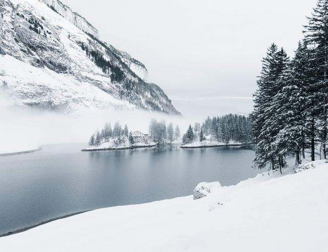 Scenic view of frozen lake during winter