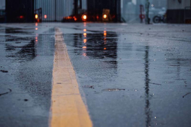 Surface level of wet road in rainy season