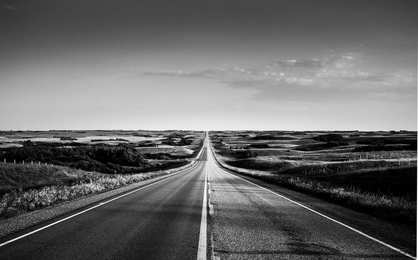 A road lead us home Beauty In Nature Blackandwhite Day Diminishing Perspective Landscape Nature No People Outdoors Road Scenics Sky The Great Outdoors - 2017 EyeEm Awards The Way Forward Tranquil Scene Transportation