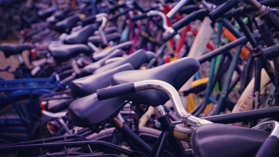 Full frame shot of bicycles parked outdoors