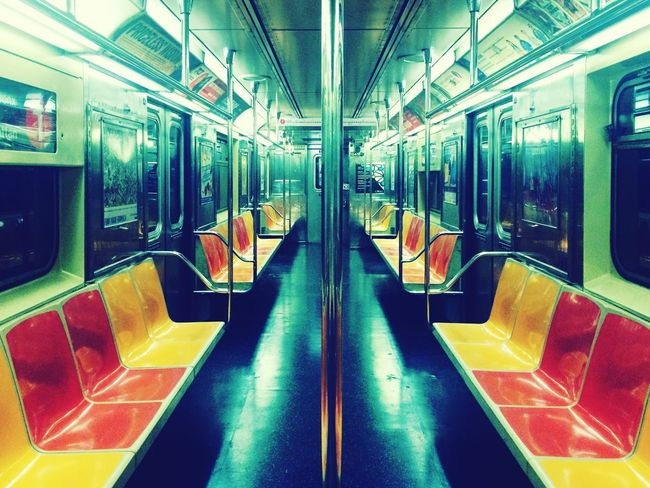 Alone New York NYC LIFE ♥ Mode Of Transportation Public Transportation Transportation Subway Train Train Vehicle Interior Subway Seat Travel Empty HUAWEI Photo Award: After Dark
