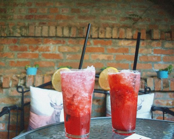 Beverages Lounge Bar Red Rustic Strawberry Lemonade Summer Tasty