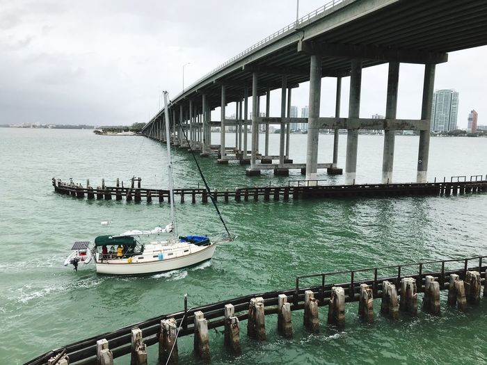 Sailing away Nature Sea Waterfront Bridge No People Outdoors Day