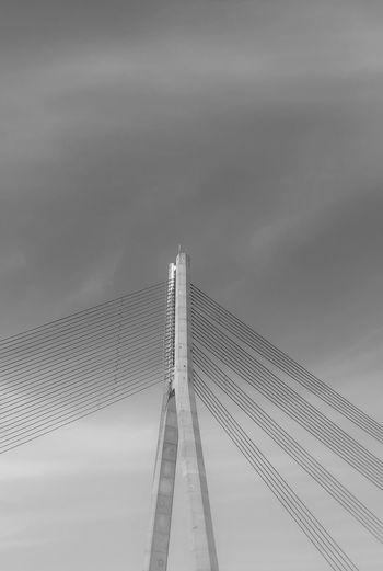 The Bridge Element Modern City Built Structure Outdoors No People Architecture Bridge - Man Made Structure Bridge Bridge Element Cables And Wires Cable-stayed Bridge Riga Latvia Bnw_collection Bnw Photography Monochrome Bnw_city Bnw_life Bnw_friday_eyeemchallenge Blackandwhite Cable-stayed Suspension Bridge Sky Bnw_society