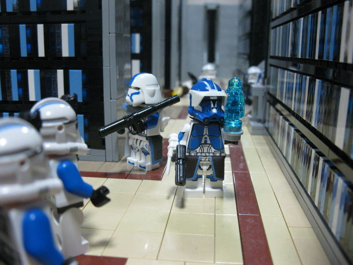 """""""Yes, my lord?"""" 501st Blue Clone Commander Clone Trooper CloneArmyCustoms Jedi Temple Library LEGO Order 66 Palpatine Star Wars"""