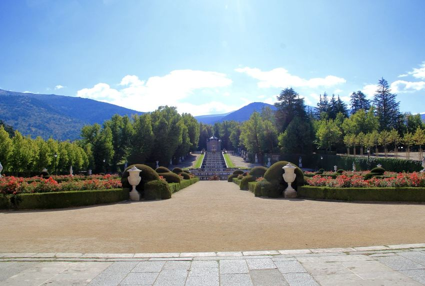 Beauty In Nature Blue Day Garden La Granja De San Ildefonso - Segovia Mountain Mountain Range Nature No People Outdoors Royal Royal Gardens  San Ildefonso Sky Tree Vacations Versailles Gardens