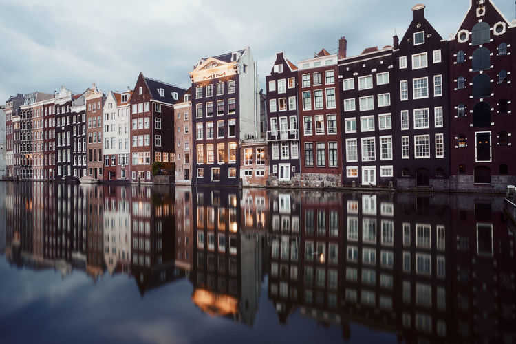 Amsterdam Holland Dutch Reflection Remo SCarfo Building Exterior Architecture Built Structure Water Building Waterfront Sky Cloud - Sky Nature Residential District City No People Outdoors Lake Day House Symmetry Row House Apartment