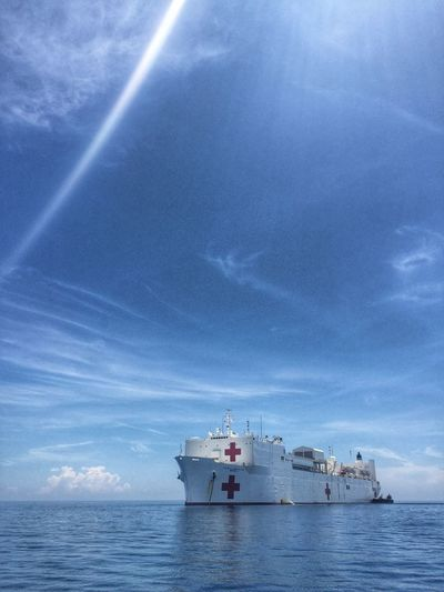 USNS Mercy. Hospital Ship Usns Mercy Usns Usnsmercy Blue Sky Ocean Pacific Partnership Roxas City HDR IPhoneography