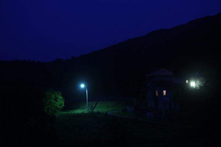 Blue Sky Dark Green Mountain Nature Night Nightlight Non-urban Scene Outdoors Scenics Solitude