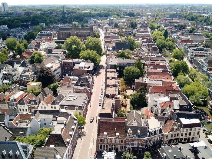 European  Rooftops Roof Tops Roofs High Angle Urban Architecture Historic Old Town City Utrecht Netherlands Dutch Holland Europe Sunny Summer Day Observation Point Observation Deck View