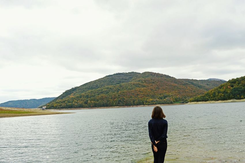 Tranquility Vacations Rewilding Walk Cinematic Wanderlust Wanderer Everyday Life Autumn Scotland Girl Awe Wonder Sea Grey Clouds Outdoors Landscape Beauty In Nature Alice In Wonderland Fairy Tale Once Upon A Time The Week On EyeEm Tranquil Scene Scenics Perspectives On Nature