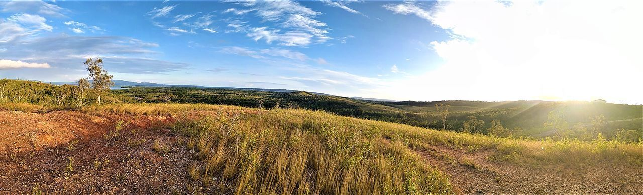 360-degree view on the hill with grass under a blue sky 360 Degree 360 Degree Panorama 360 View Land Nature Panorama Plant Background Blue Blue Sky Crop  First Eyeem Photo Landscape Panorama Landscape Summer