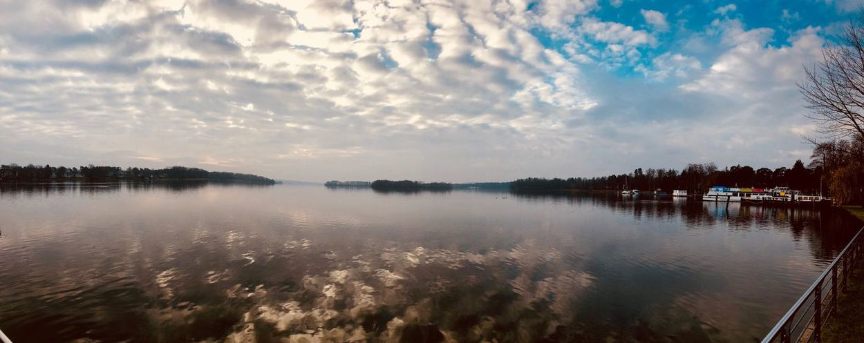Water Sky Cloud - Sky Reflection Tranquil Scene Outdoors Scenics Tranquility No People Nature Beauty In Nature Lake Day Tree Blue Sky Blue Sea Cloud_collection  See Eyem Gallery EyeEm Best Shots - Nature Cloudscape Panoramic View Panoramic Landscape Eyeem Panorama Water Reflection