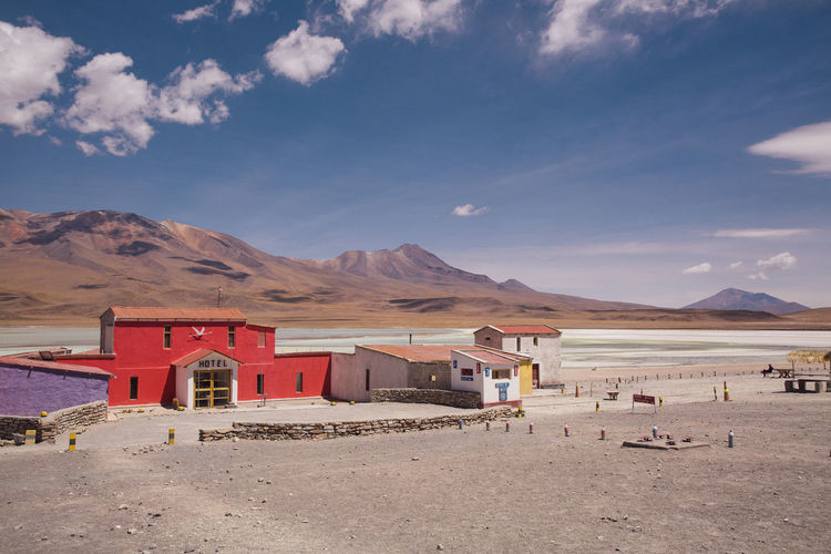 Architecture Arid Climate Beauty In Nature Bolivia Building Exterior Day Desert Exotic Hotel Mountain Nature No People Outdoors Remote Scenics Sky Uyuni