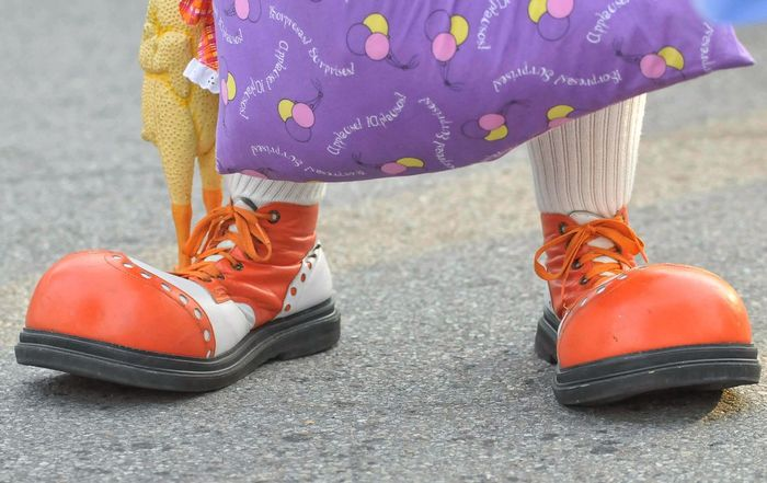 Clown Feet Clown Shoes IT Big Feet Rubber Chicken Shoes Low Section Human Body Part One Person Real People Day Childhood Road Outdoors Close-up People