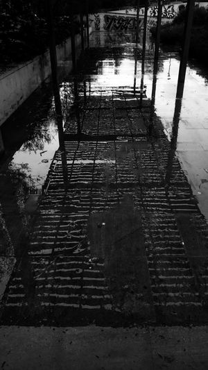Water Reflection Architecture High Angle View Direction The Way Forward No People Nature Footpath Built Structure Wet Outdoors City Staircase Day Rain Tree Rainy Season Blackandwhite Monochrome City Reflection Highcontrast Bright Striped