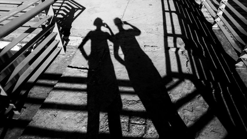 Shadow play Shadow Focus On Shadow Two People Sunlight Silhouette Real People Lifestyles Day Standing Outdoors Togetherness People Adult Adults Only Concrete Floor Berliner Ansichten My Fuckin Berlin Summer