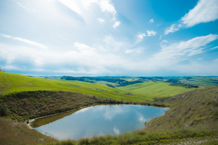 Scenic view of lake amidst green landscape against sky