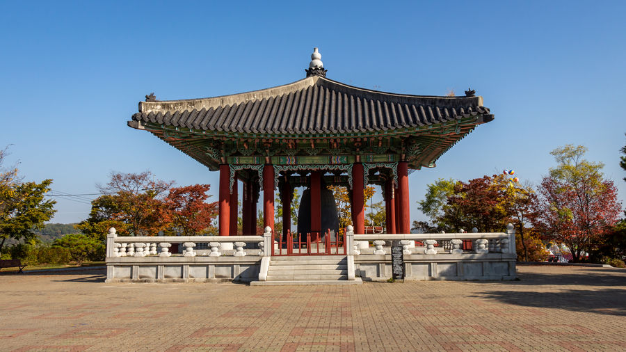 Temple against building against clear sky