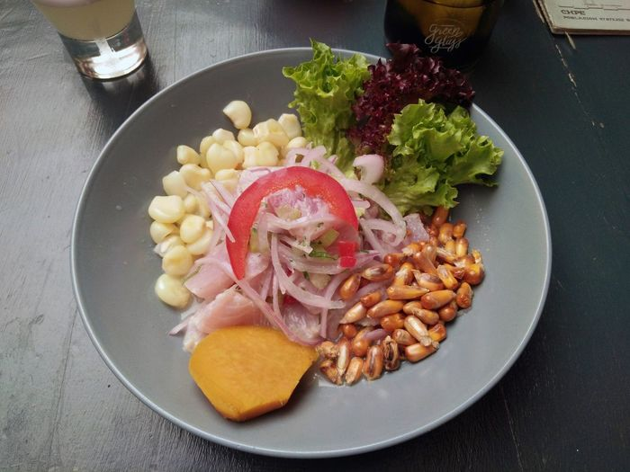 Fish ceviche Peruvian Cuisine South American Food Travel Ceviche Chipe Close-up Corn Day Delicious Fish Food Food And Drink Freshness Healthy Eating Indoors  New Flavour No People Plate Ready-to-eat Restaurant Santiago South America Starter Sweet Potato Vegetable