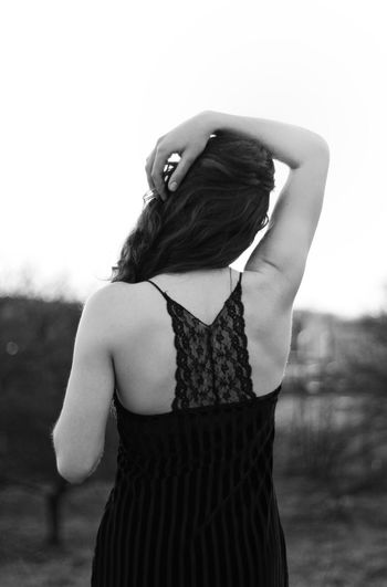 Blackandwhite Portrait Bnw_collection Women Woman Portrait Krakow Human Body Part Human Hand Girl Forest Photography Forest Standing Long Hair Rear View Sky Sleeveless  Hair Toss Sundress Human Back Back Off Shoulder Sleeveless Top Posing Hand In Hair Medium-length Hair Dress My Best Photo