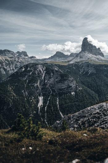 Monte piano, panoramic mountain view with tre cime aka drei zinnen