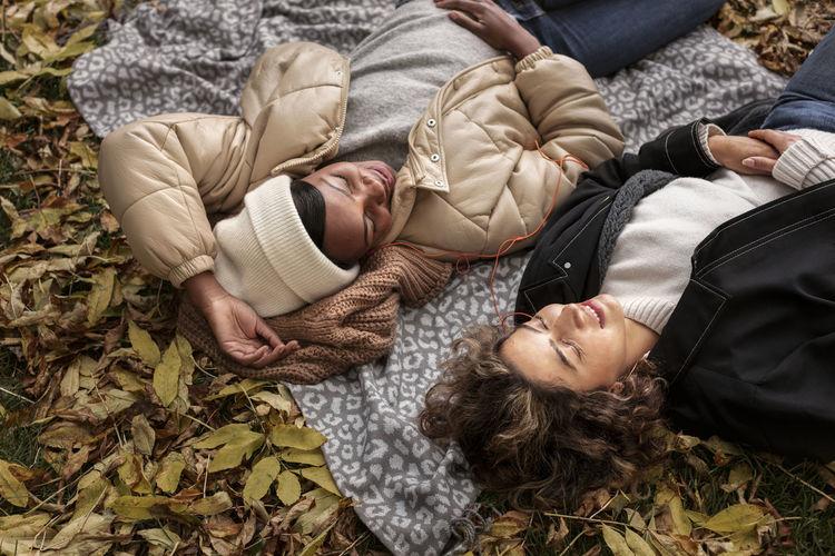 High angle view of people sleeping