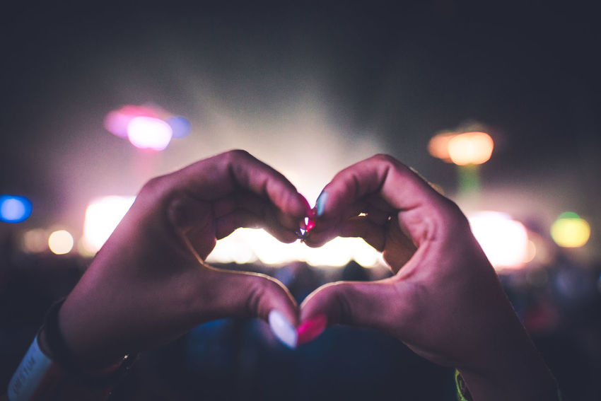 Love Festival Heart Shape Human Body Part Human Hand Love Night Nightlife People Summer Togetherness