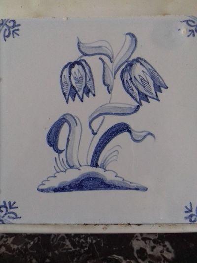 Tile No People Fliese Motivfliese Holland Kachel Fayence Blume Flower Delft Blue Blau Writing Day Close-up