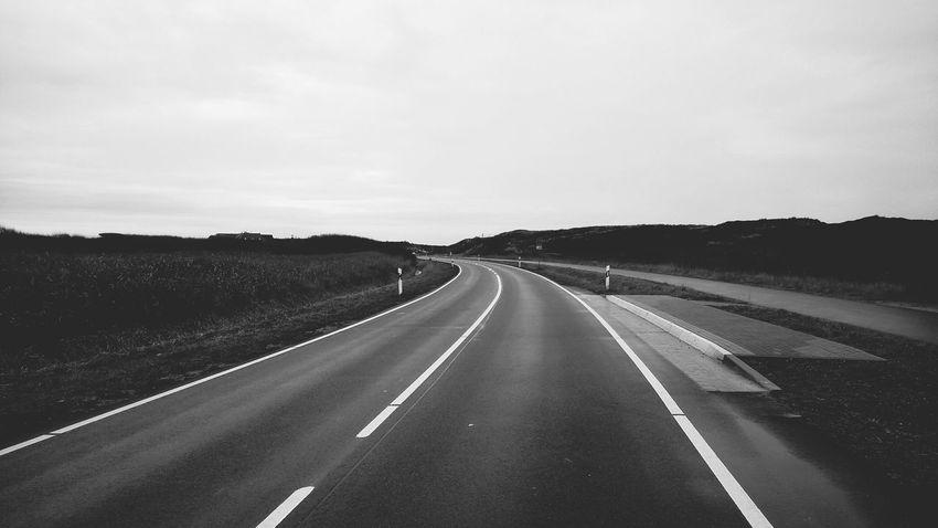 The Road. · Rantum Sylt Germany Island Nordsee Street No Traffic Solitude Quietude Simplicity Minimalism Blackandwhite Black And White Monochrome