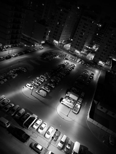 No People Night Cars Parking Lot City Vehicle