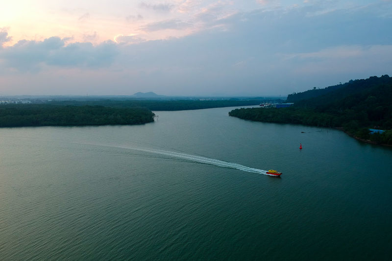 Water Nautical Vessel Sea Sunset Aerial View High Angle View Sky Landscape Horizon Over Water Cloud - Sky Wake - Water Sailing Sailing Boat Boat Seascape Coast