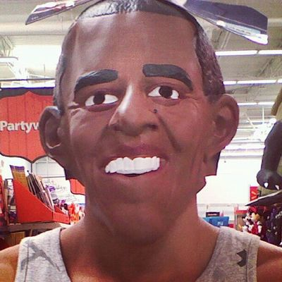 "Walking around Walmart with an Obama Mask on while saying ""vote for Romney "">>> lol"