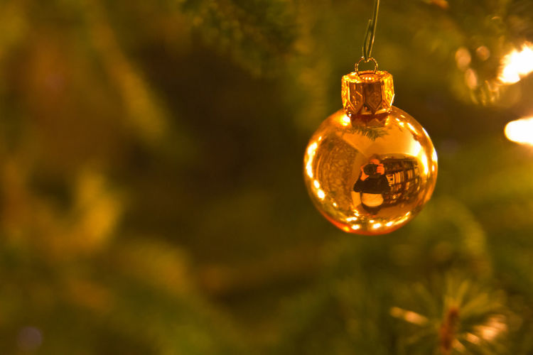Celebration Christmas Christmas Decoration Christmas Ornament Close-up Focus On Foreground Gold Colored Hanging Illuminated No People