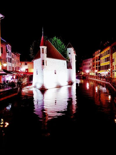 Night Building Exterior Illuminated Cityscape No People Built Structure Water Annecy Annecy Lake