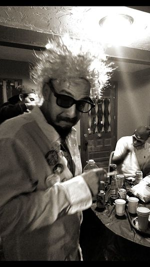 Spooky Halloween Ohio Party Costume Ghoul Mad Scientist Sitting Men Table