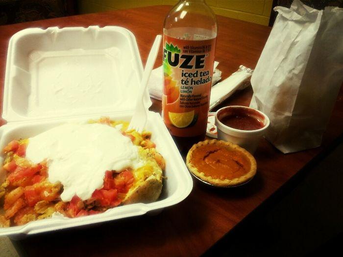 #eatn Gudd #chixken Ndd Shrimp Baked Potato #chips Ndd Salsa # Sweet Potato Pie #widd Tea